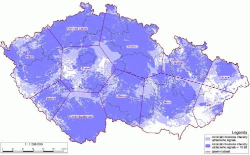 Analog ČT 2 - pokrytí ČR k 15.9.2008