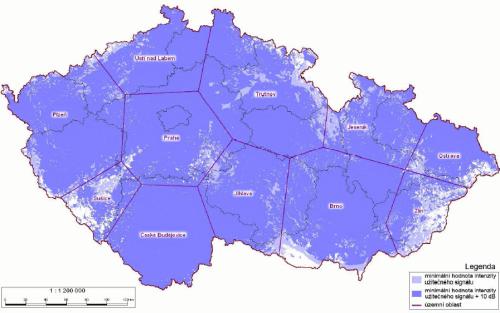 Analog Nova - pokrytí ČR k 15.9.2008