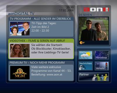 aonDigital TV menu