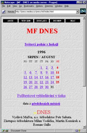 Domovska stranka MF DNes na serveru Medea