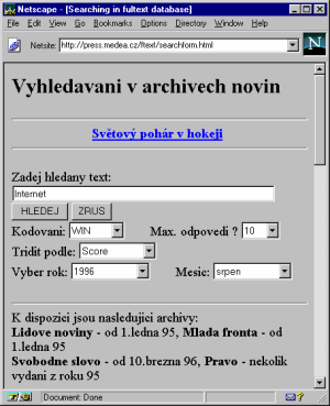 Vyhledavaci formular na serveru MEDEA