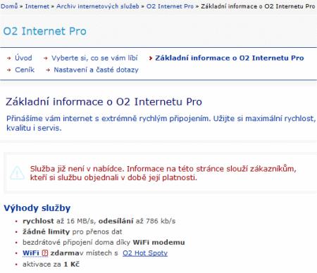 popis služby O2 Internet Pro