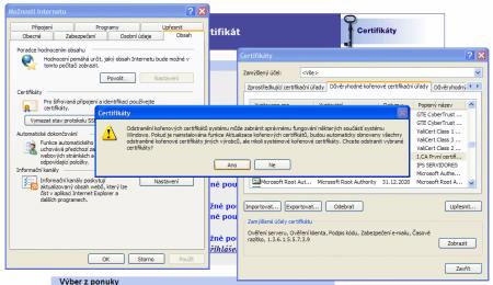 odebrání certfikátu ve Windows XP