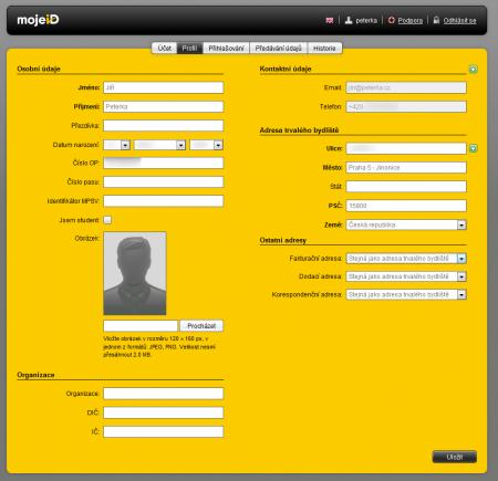 profil uživatele