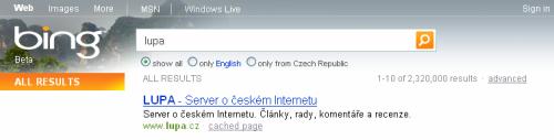 Vyhledávač Bing - Lupa