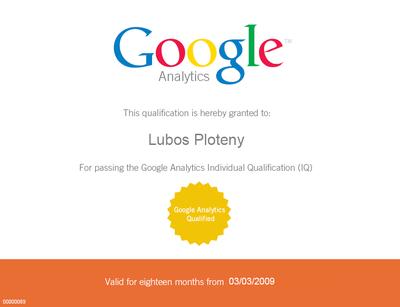 Certifikát Google Analytics Qualified Individual