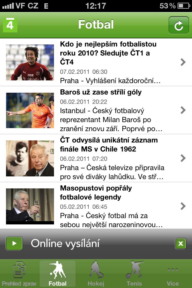 7dfd3aa57 Aplikace sportovního kanálu ČT 4 pro iPhone a iPad - Lupa.cz