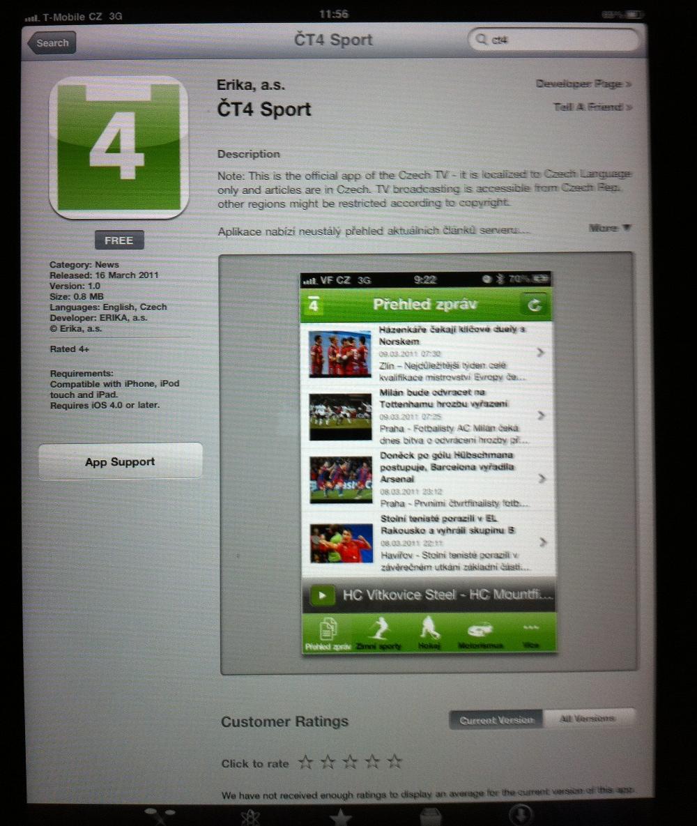 67b8079f2 Sportovní kanál ČT 4 už živě vysílá pro iPhony a iPady, stejně jako ...
