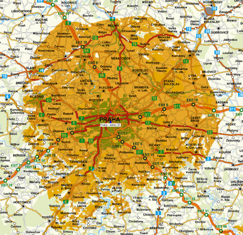 DVB-T2 - pokrytí Praha k 1.8.2011