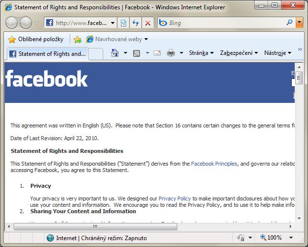 Podminky Facebooku