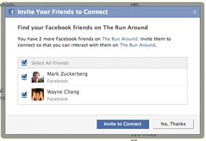 Facebook Connect pozvání na stránku