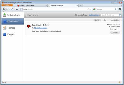 Firefox 4.0 Beta 1: Správce doplňků