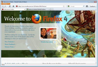Firefox 4.0 Beta 1: přesun lišty s panely