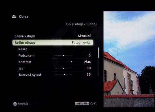 Sony KDL-40LX900 - fotografie - nastavení režimu obrazu