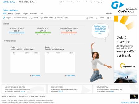 GoPay stránka po přihlášení