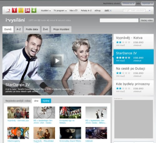 iVysílání.cz - homepage webu od 1.1.2011