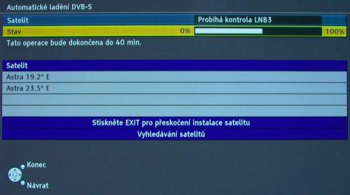 Panasonic TX-P50VT20E najití družic