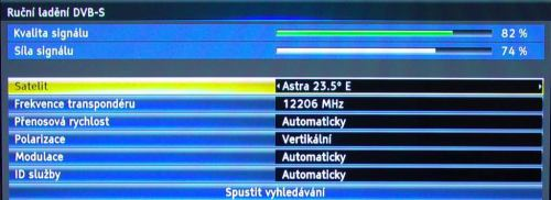 Panasonic P42GT30 instalace satelitu ruční