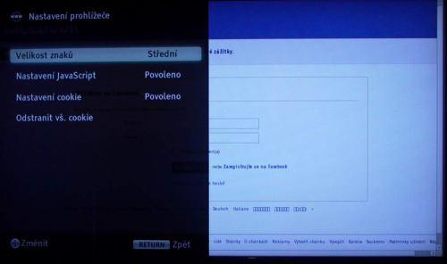Sony KDL-40CX520 nastavení prohlížeče