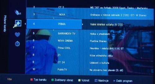 Samsung LCDB550 kanály - přehled