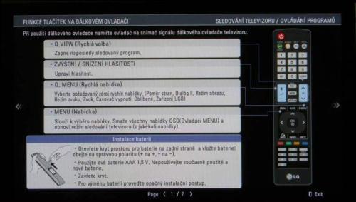 LG 42PJ650 - manuál v TV - stručný návod