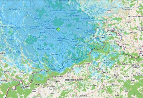 DAB+, Dresden - Wachwitz - mapa pokrytí
