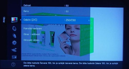 Samsung LCDB550 menu - barvy
