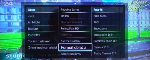 Philips Cinema 58PFL9954H menu - formát obrazu