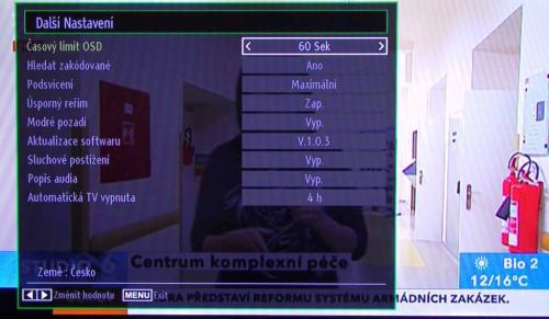 Gogen TVL32915LED - menu nastavení