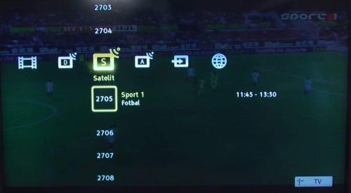Sony V5800 a Z5800 menu - satelitní kanály