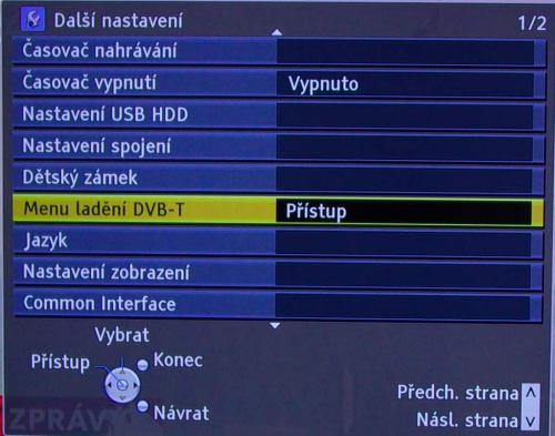 Panasonic TX-L42D25 - ladění, přidání DVB-S