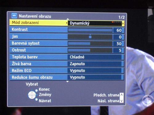Panasonic TX-P42G20ES menu nastavení obrazu