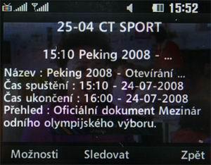 LG HB620T - detail EPG u ČT 4 Sport