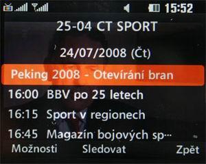 LG HB620T - EPG u ČT 4 Sport