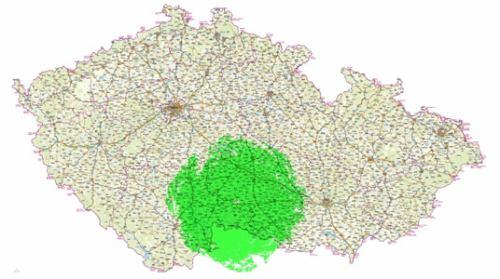 Mux 1 - pokrytí Jihlava Javořice celá mapa