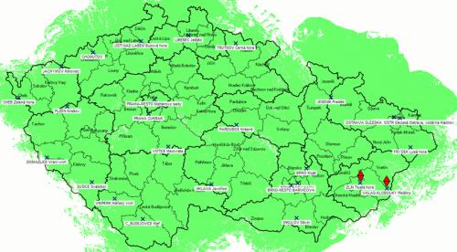 Digitál ČT 1 a ČT 2 - pokrytí ČR ze všech vysílačů