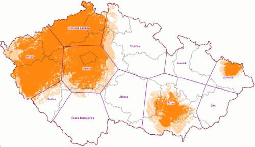 Mux 2 - pokrytí ČR k 15.3.2009