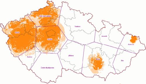 Mux 3 - pokrytí ČR k 15.3.2009