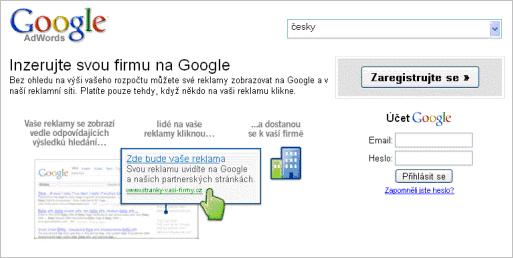 Titulní stránka Google AdWords