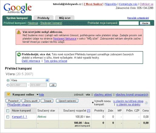 Nový účet Google AdWords