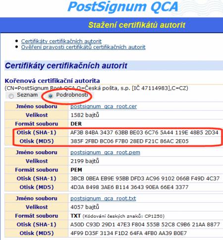 certifikáty s i otisky