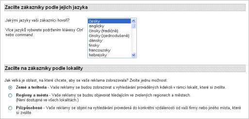 Zacílení zákazníka podle jazyka a lokality