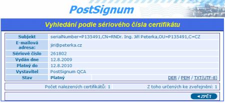 seznam vydanych certifikatu