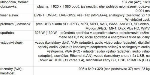 Panasonic P42GT30 parametry