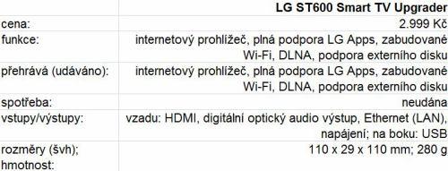LG ST600 - parametry