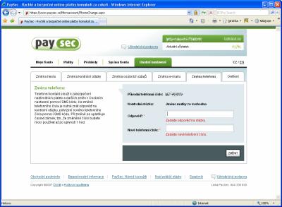 PaySec - změna čísla
