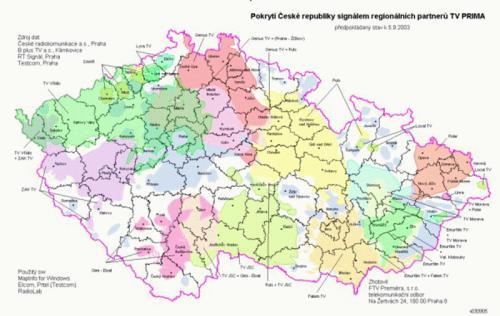 Prima regiony sdílené kmitočty mapka