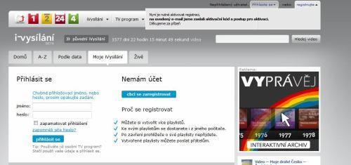 iVysílání - registrace