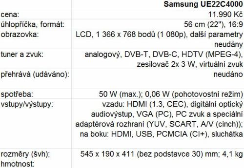 Samsung UE22C4000 technické parametry