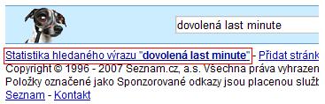 Statistiku hledanosti na Seznam.cz naleznete v patičce stránky s výsledky vyhledávání